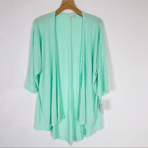 NWT LuLaRoe Lindsay Kimono green mint striped